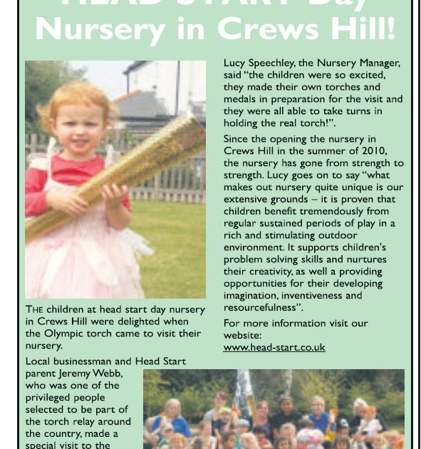 Olympic torch visits Head Start Day Nursery in Crews Hill